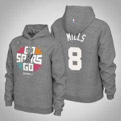Männer San Antonio Spurs Patty Mills & 8 Grau 2019 NBA Playoffs PulloverHoodie