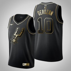 San Antonio Spurs DeMar DeRozan & 10 Golden Edition Schwarz Jersey