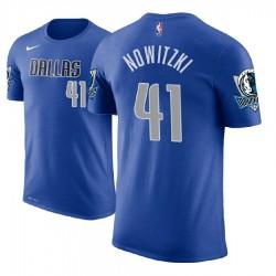 Herren Dirk Nowitzki Dallas Mavericks und 41 blaue Symbol Name # Nummer T-Shirt