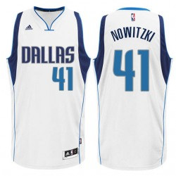 Dirk Nowitzki Dallas Mavericks # 41 New Swingman Startseite Weiß Trikot