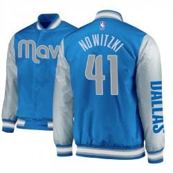 Herren Dirk Nowitzki Dallas Mavericks und 41 blaue Satin-Voll Snap-Jacke