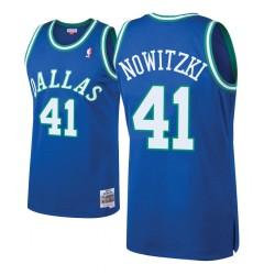 Herren Mitchell # Ness Dirk Nowitzki Dallas Mavericks und 41 Laubholz Klassische königliche Swingman Jersey
