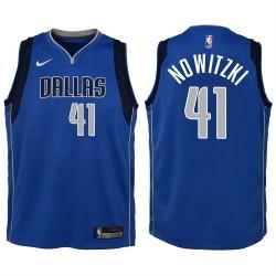Jugend 2017-18 Saison Dirk Nowitzki Dallas Mavericks und 41 Icon Blau Swingman Jersey