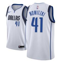 Männer NBA 2018-19 Dirk Nowitzki Dallas Mavericks und 41 Verband Weiß Jersey
