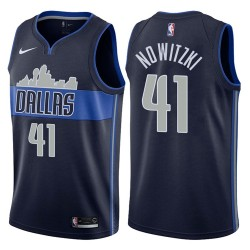 Herren 2017-18 Saison Dirk Nowitzki Dallas Mavericks und 41 Statement Navy Swingman Trikot