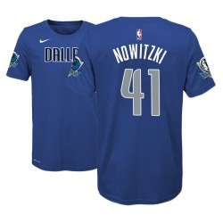 Jugend 2018-19 Dirk Nowitzki Dallas Mavericks und 41 Icon Edition Blue Name # Nummer T-Shirt