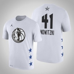 2019 NBA All-Star Game Männer Dallas Mavericks Dirk Nowitzki # 41 Weißes T-Shirt