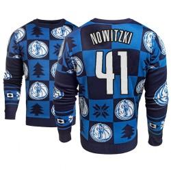 Männer Dirk Nowitzki Dallas Mavericks und 41 Blau 2018 Weihnachten Sweater