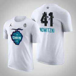 2019 NBA All-Star Game Männer Dallas Mavericks Dirk Nowitzki # 41 Weiß Der Buzz Side Sweep T-Shirt