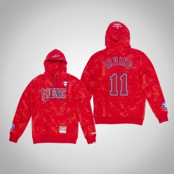 Nets Kyrie Irving & 11 AAPE x Mitchell Ness Camo PulloverHoodie Red
