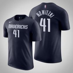 Dallas Mavericks und 41 Dirk Nowitzki Statement Navy 2020 Saison Name & Nummer T-Shirt
