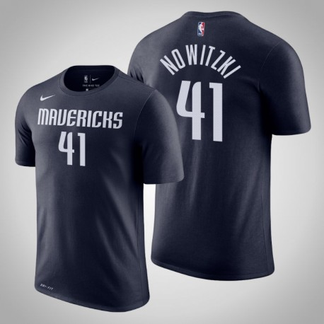 Dallas Mavericks und 41 Dirk Nowitzki Statement Navy 2020 Saison Name & Nummer T-Shirt