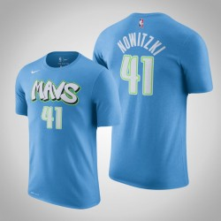 Dallas Mavericks und 41 Dirk Nowitzki City Blue 2020 Saison Name & Nummer T-Shirt