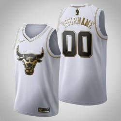 Chicago Bulls Personalisieren Golden Edition weißes Trikot