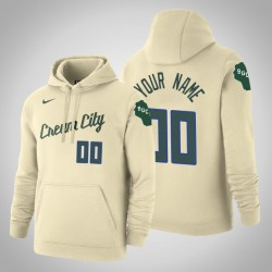 Milwaukee Bucks Personalisieren City Creme 2020 Saison Pullover Hoodie