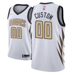 Männer NBA Personalisieren Atlanta Hawks City Edition Weiß Trikot
