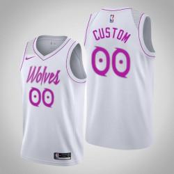 Männer NBA Custom Minnesota Timberwolves verdiente Edition Weiß Swingman Trikot