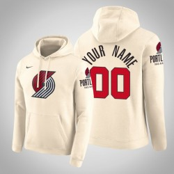 Portland Trail Blazers Personalisieren City Creme 2020 Saison Pullover Hoodie