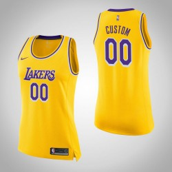 Damen Personalisieren Los Angeles Lakers Icon Gold Swingman Trikot