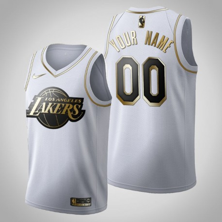 Los Angeles Lakers Personalisieren Golden Edition Weiß Trikot