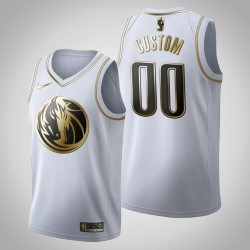 Dallas Mavericks Personalisieren Golden Edition weißes Trikot