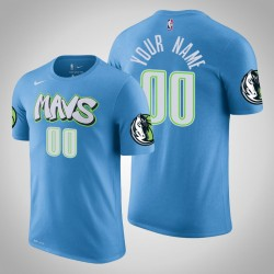 Dallas Mavericks Personalisieren City Blau 2020 Saison Name # Nummer T-Shirt