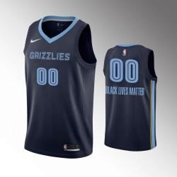 Männer Memphis Grizzlies Personalisieren Ikone Navy Schwarz Lives Matter Trikot