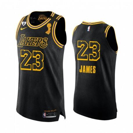 Los Angeles Lakers 2020 NBA-Finalsieger LeBron James Schwarz Mamba Authentisches Trikot Soziale Gerechtigkeit
