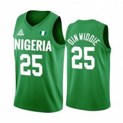 Spencer Dinwiddie Nigeria Team # 25 Green 2020 Olympischen Spiele in Tokio Trikot