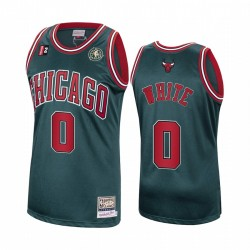 Coby Weiß & 0 Chicago Bulls Grün Laubholz Classics Authentic Trikot