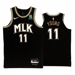 Trae junge atlanta hawks mlk city edition schwarz trikot authentisch