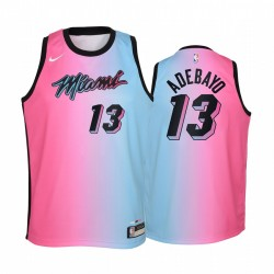 Miami Hitze Bam Adebayo 2020-21 Stadt blau Rosa Jugend Trikot -