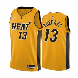2020-21 Miami Heat Bam Adebayo Verdiente Ausgabe Gelb & 13 Trikot