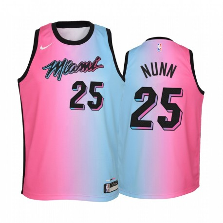 Miami Hitze Kendrick Nunn 2020-21 Stadt blau Rosa Jugend Trikot - Regenbogen