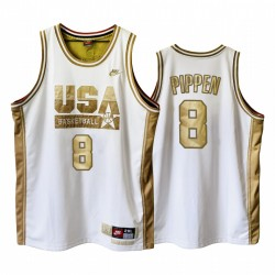 USA Scottie Pippen-Traum-Team Weiße 1992 Olympiade Basketball Golden Limited Edition Trikot