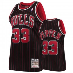 Chicago Bulls # 33 Scottie Pippen Pippen Schwarz Hartholz Klassiker Männer Trikot