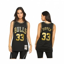 Männer Scottie Pippen Chicago Bulls Throwback Schwarz Trikot Golden Limitierte Zuteilung