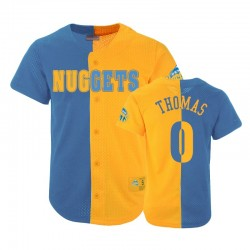 Nuggets Männlich Jesaja Thomas & 0 Split Mesh Button Blue Gold Trikot