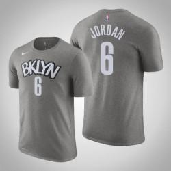 Brooklyn Nets & 6 DeAndre Jordan Statement Grau 2020 Saison Name & Nummer T-Shirt
