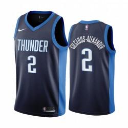 2020-21 Oklahoma City Thunder Shai Gilgeous-Alexander verdiente Edition Navy & 2 Trikot