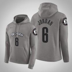 Brooklyn Nets & 6 DeAndre Jordan Stadt Grau 2020 Jahreszeit PulloverHoodie