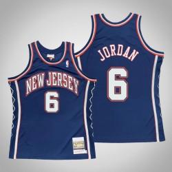 Männer New Jersey Nets DeAndre Jordan & 6 Blue 2006-07 Holz Classics Throwback authentisches Jersey