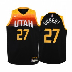 Utah Jazz Rudy Gobert 2020-21 Stadt Schwarz Jugend Trikot -