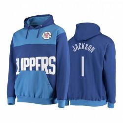 Reggie Jackson Los Angeles Clippers Übergroßes Wordmark Hoodie Royal Pullover