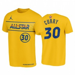 2021 All-Star & 30 Stephen Curry Western Conference Warriors Gold T-Shirt