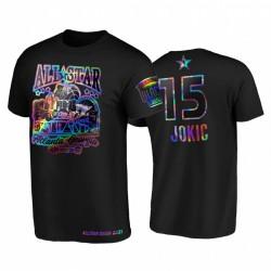 2021 All-Star Nikola Jokic Hbcu Spirit Irisierende holographische Schwarz T-Shirt & 15