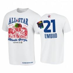 2021 All-Star Joel EmbIid Support Schwarz Colleges HBCU Spirit WEIß T-Shirt & 21