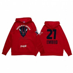 Joel Embiid 2021 NBA All-Star-Spiel X HBCU-Sammlung Howard Universität Schüler Rot Hoodie Mantra Pullover