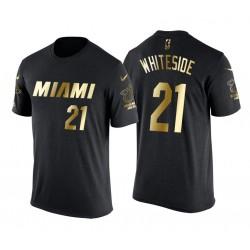 Miami Heat Hassan Weißside & 21 männliche Goldene Luxe Schwarz T-Shirt