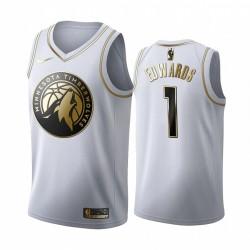 Anthony Edwards Minnesota Timberwolves 2020-21 Weiß Golden Edition Trikot 2020 NBA Draft